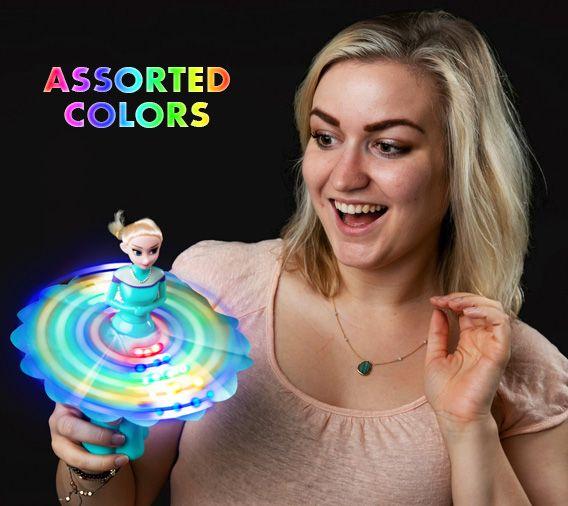 Musical Light Up Flashing Frozen Ice Princess Spinning Wand
