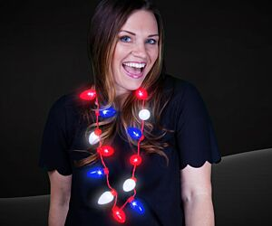 Red White Blue Bulb Necklace