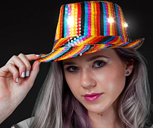 Flashing Rainbow Fedora Hat