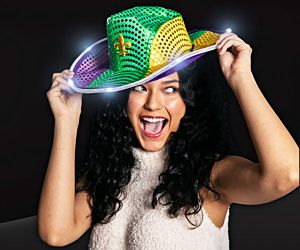 LED Mardi Gras Sequin Hat
