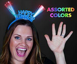 LED Fiber Optic Happy New Year Headband