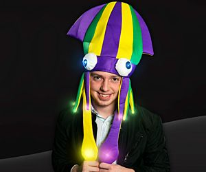 Flashing Mardi Gras Squid Hat