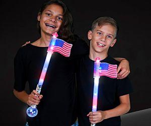 Flashing USA Flag Wand