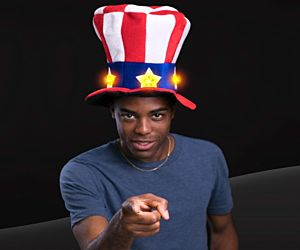 LED RWB Uncle Sam Hat