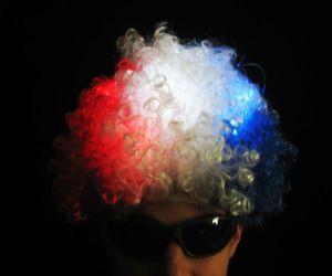 Flashing Afro Wig (R/W/B)