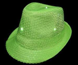 Flashing Fedora Hat - Neon Green