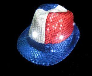 Patriotic Blinking Fedora Hat