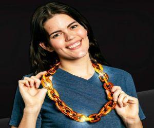 Orange LED jumbo chain link necklace