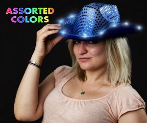 Light up Sequin Cowboy Hat - Blue