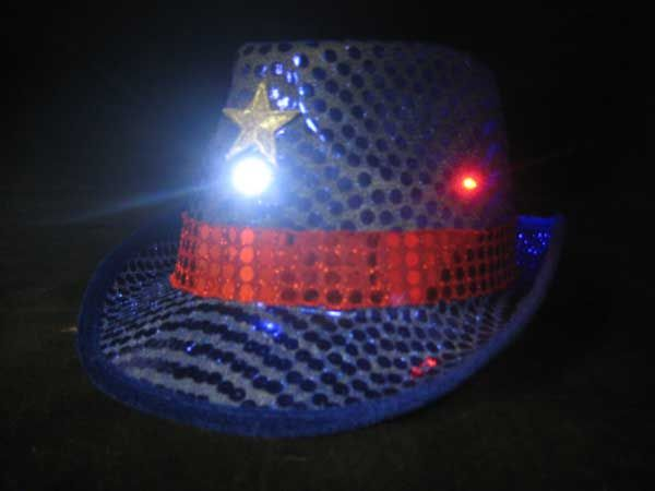 b7abab26d13 Flashing sequin fedora hat with red white and blue led lights
