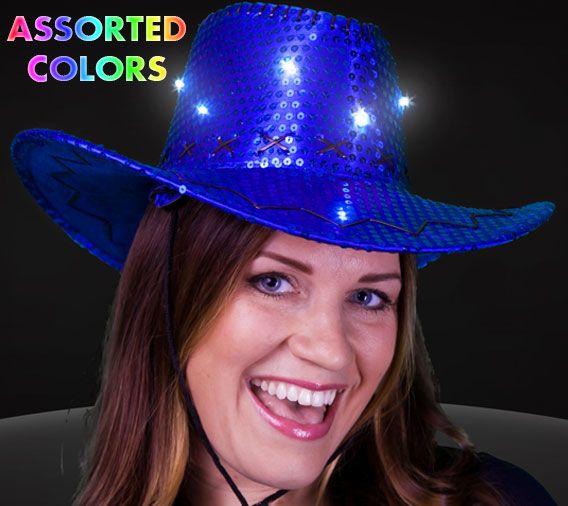 b0b89835d76 Flashing sequin 8 led cowboy hat
