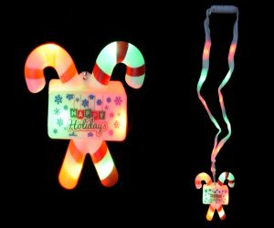 Flashing Candy Cane Lanyard Necklaces
