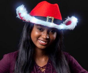 Light up Santa Cowboy Hat