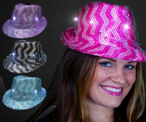 LED Chevron Sequin Fedora