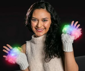 LED Fingerless Fuzzy Gloves